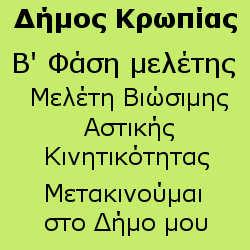 B' φάση – Τελική Σχεδίου Βιώσιμης Αστικής Κινητικότητας Δήμου Κρωπίας
