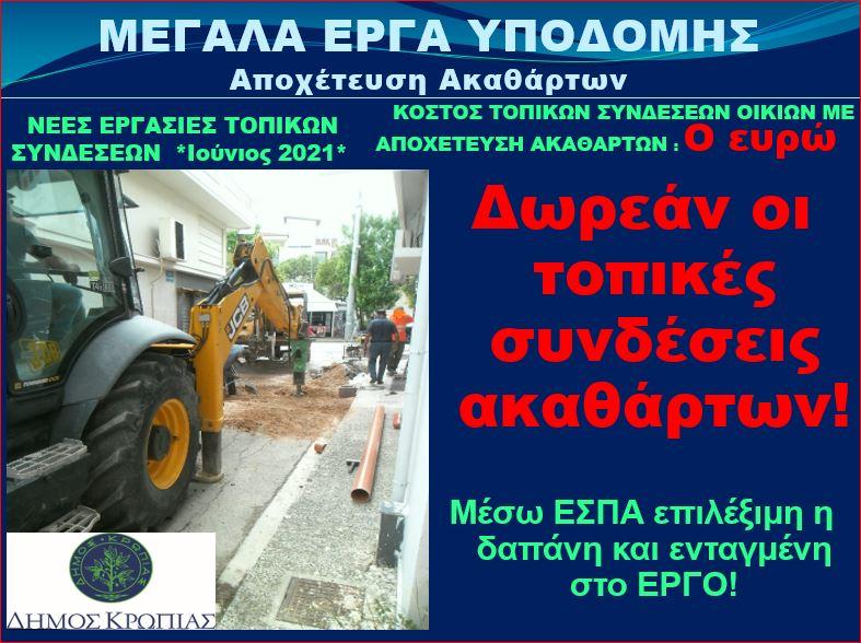 Συνεχίζονται οι εργασίες τοπικών συνδέσεων αποχέτευσης ακαθάρτων στην πόλη του Κορωπίου.